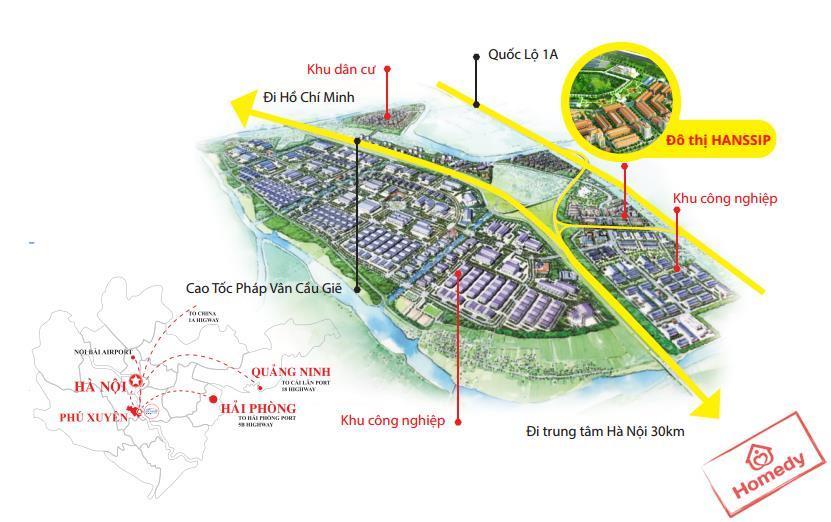 Khu đô thị Hanssip Phú Xuyên nằm ở vị trí chiến lược trong phát triển kinh tế.