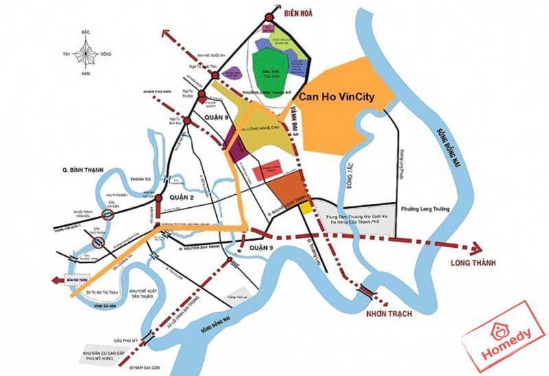 Bản đồ dự án căn hộ VinCity tại phường Long Bình, Quận 9, Tp. Hồ Chí Minh