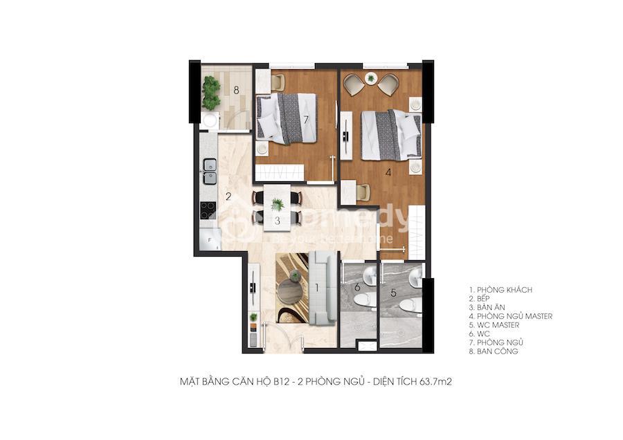 Mặt bằng căn hộ Citrine Apartment