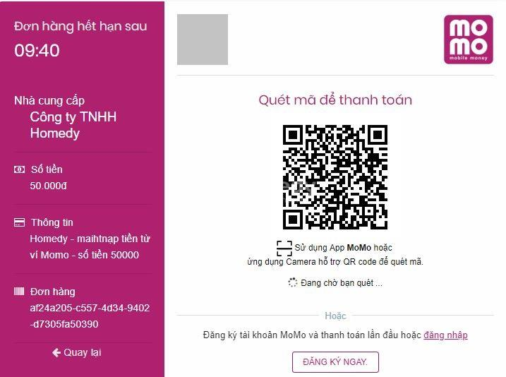 Nạp tiền tài khoản Homedy nhanh chóng và tiện lợi cùng ví điện tử MoMo