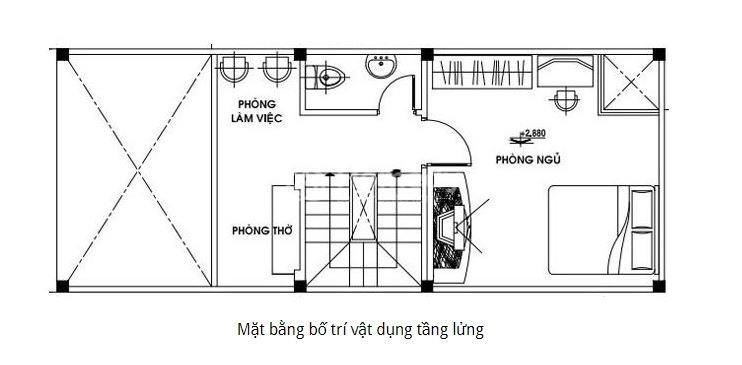 mẫu nhà cấp 4 có gác lửng 4x16m