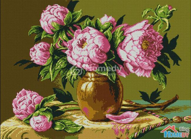 y nghia tranh theu hoa hai duong trong phong thuy